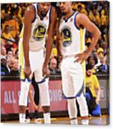 Quinn Cook and Kevin Durant Canvas Print