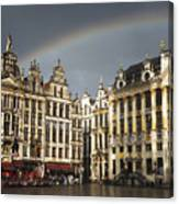 Rainbow over Grand Place Canvas Print