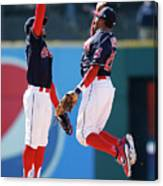 Rajai Davis and Francisco Lindor Canvas Print
