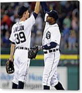 Rajai Davis And Josh Wilson Canvas Print