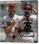Randy Johnson And Miguel Montero Canvas Print