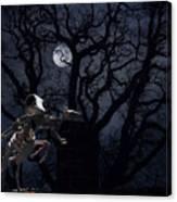 Raven and Rat Skeleton in Moonlight - Halloween Canvas Print