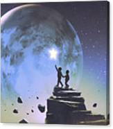 Reaching Out For The Little Star Canvas Print