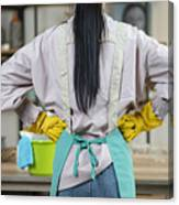 Rear Of Housewife Wear Apron Ready To Cleansing Home Canvas Print