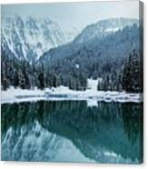 Reflection Of Mountains In Lake During Winter Canvas Print
