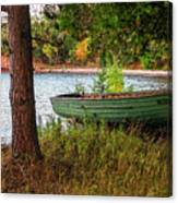 Row boat in Fall Canvas Print