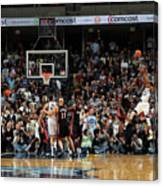 Rudy Gay and Lebron James Canvas Print