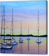 Sailboats At Dusk #10 Canvas Print