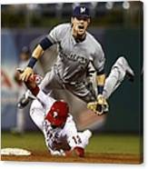 Scooter Gennett and Freddy Galvis Canvas Print