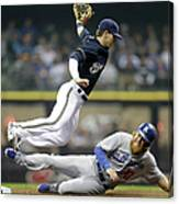 Scooter Gennett And Justin Turner Canvas Print