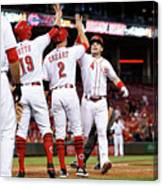 Scooter Gennett, Zack Cozart, and Joey Votto Canvas Print