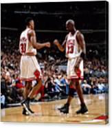 Scottie Pippen and Michael Jordan Canvas Print