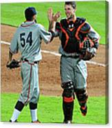 Sergio Romo And Buster Posey Canvas Print