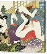 Shunga, Young Lovers at the New Year Canvas Print