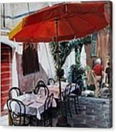 Red Umbrella Outdoor Cafe Canvas Print