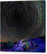 Star Trails Over Abandoned Car Canvas Print