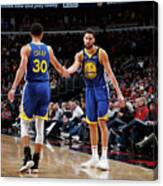 Stephen Curry and Klay Thompson Canvas Print