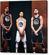 Stephen Curry, Kevin Durant, and Klay Thompson Canvas Print