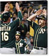 Stephen Vogt and Billy Butler Canvas Print