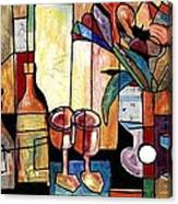 Still Life with Wine and Flowers for two take 2  Canvas Print