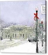Strang Car Barn in Winter Canvas Print
