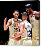 T.j. Mcconnell, Ben Simmons, and Joel Embiid Canvas Print