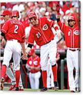 Todd Frazier, Homer Bailey, And Zack Cozart Canvas Print