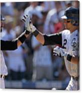 Todd Helton, Troy Tulowitzki, and Bill Bray Canvas Print