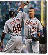 Torii Hunter and Miguel Cabrera Canvas Print