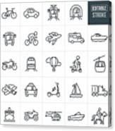 Transportation Thin Line Icons - Editable Stroke Canvas Print