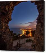 View Of Blanes At Night From The Castle Canvas Print