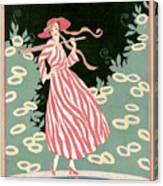 Vogue Cover Illustration Of A Woman Walking By A Pond Canvas Print