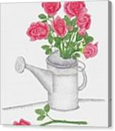 Watering Can With Red Roses Canvas Print