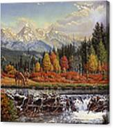 Western Mountain Landscape Autumn Mountain Man Trapper Beaver Dam Frontier Americana Oil Painting Canvas Print