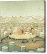 While and Polar Bear Canvas Print