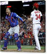 Willson Contreras and Bryce Harper Canvas Print