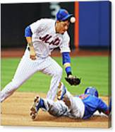 Wilmer Flores And Chris Coghlan Canvas Print