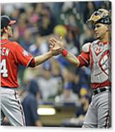 Wilson Ramos and Casey Janssen Canvas Print