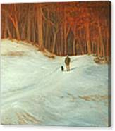 Winter Walk with Dog Canvas Print