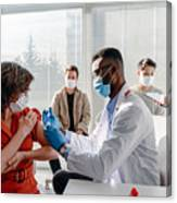 Women With Face Mask Getting Vaccinated, Coronavirus, Covid-19 And Vaccination Concept Canvas Print