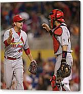 Yadier Molina and Trevor Rosenthal Canvas Print