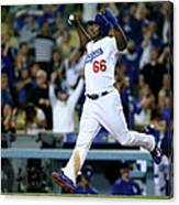 Yasiel Puig And Howie Kendrick Canvas Print