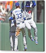 Yasiel Puig, Scott Van Slyke, and Matt Kemp Canvas Print