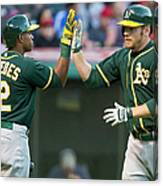 Yoenis Cespedes and Brandon Moss Canvas Print