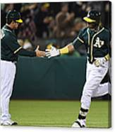 Yoenis Cespedes and Mike Gallego Canvas Print