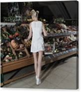 Young Woman Shopping Vegetables In Mall Canvas Print