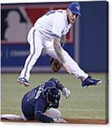 Yunel Escobar and Brett Lawrie Canvas Print