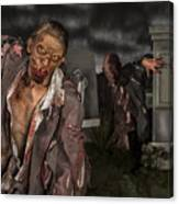 Zombies in the graveyard Canvas Print