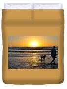 A Mans Best Friend Sunset Duvet Cover