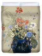 A Vase Of Blue Flowers Duvet Cover by Odilon Redon
